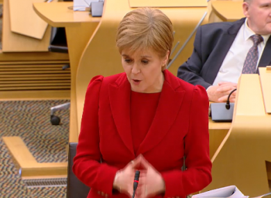 Nicola Sturgeon in the Scottish Parliament this afternoon.