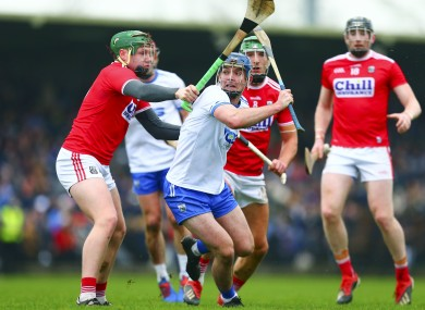 Waterford's Patrick Curran in action against the Cork defence.