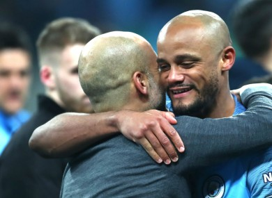 Pep Guardiola and Vincent Kompany.