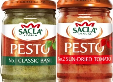Some of the pesto products that have been recalled.