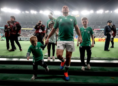 Rory Best leaves the pitch for the final time as Ireland captain.