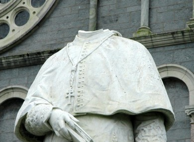 The damaged statue outside the Cathedral of the Assumption in Thurles, Co Tipperary