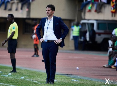 Johnny McKinstry prowls the touchline during Uganda's clash with Malawi on 17 November.