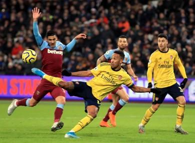 Pierre-Emerick Aubameyang scoring a goal for Arsenal.
