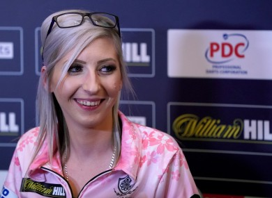 Fallon Sherrock during a press conference on day 12 of the William Hill World Championships.