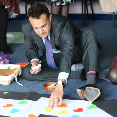 Taoiseach Leo Varadkar pictured at Castleknock Community College in Dublin 15 earlier today.