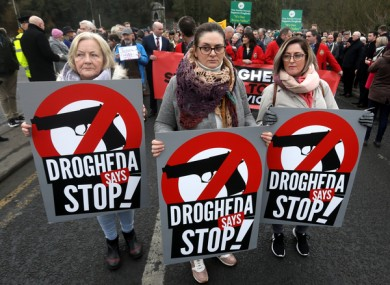 Three women at the protest against violence in Drogheda today.