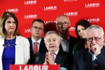 Labour Party leader Brendan Howlin with party members as they published their manifesto this afternoon