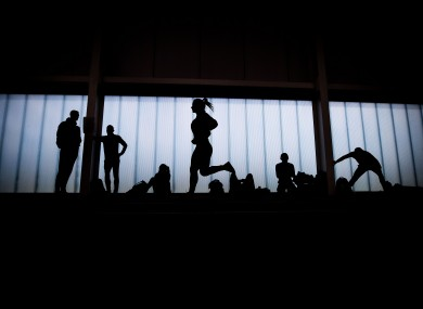 A general view of athletes warming up at last year's Irish Indoors (file pic).
