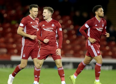 Gallagher in action for Aberdeen last month.