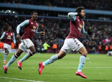 Trezeguet celebrates scoring the winner for Aston Villa.