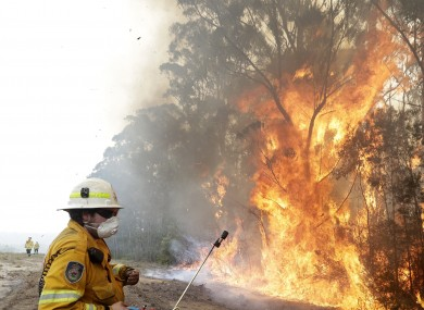 A firefighter uses his phone to record a controlled burn near Tomerong, Australia
