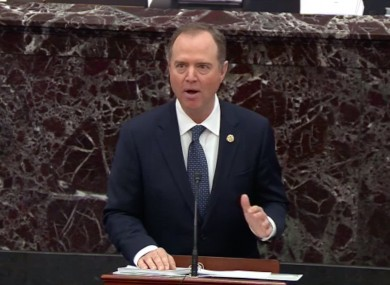 US Representative Adam Schiff (Democrat of California), Chairman, US House Permanent Select Committee on Intelligence makes his opening remarks during the trial