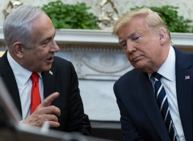 Israeli prime minister Benjamin Netanyahu with Donald Trump at the White House.