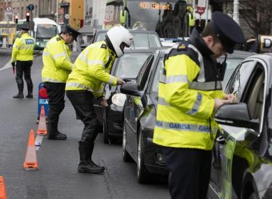 File photo. Garda checkpoint in Dublin