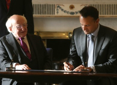 Taoiseach Leo Varadkar with President of Ireland, Michael D Higgins following the his request to dissolve the 32nd Dail at Aras an Uachtarain.