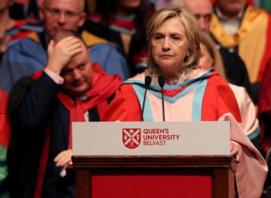 Hillary Clinton was awarded an honorary degree from Queen's University Belfast in 2018.