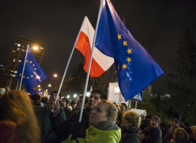 Protesters in Poland who have objected to the changes in the law.