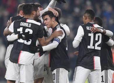 Juventus players celebrate.