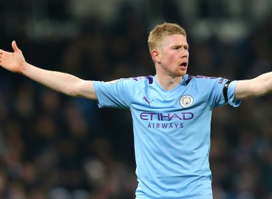Kevin De Bruyne pictured during tonight's match.