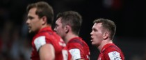 Chris Farrell (far right) dejected after Munster lose to Racing.