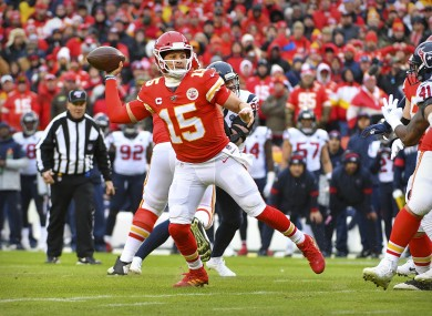 Patrick Mahomes of the Kansas City Chiefs gets a pass away during their win over the Houston Texans.