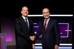 Varadkar and Martin in the Virgin Media Television studios.