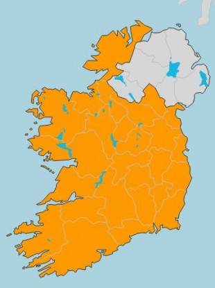 A Status Orange wind warning is in place in the Republic of Ireland.