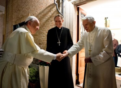 File photo. Pope Francis greeting Pope Benedict.