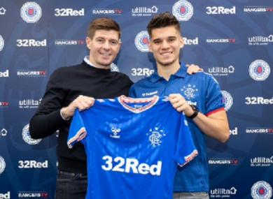Rangers boss Steven Gerrard alongside his latest signing.