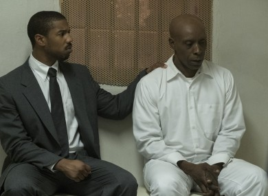 Bryan Stevenson (Michael B Jordan) with Herbert Richardson (Rob Morgan) in Just Mercy.
