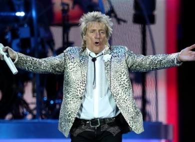 Rod Stewart pictured on stage in 2016.