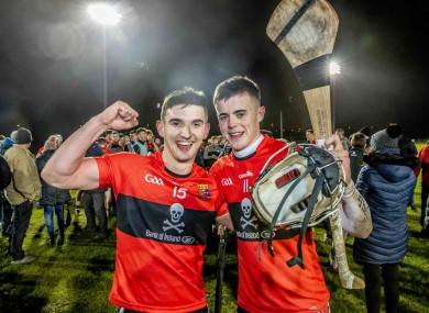 UCC's Shane Kingston and Darragh Fitzgibbon celebrate their 2019 semi-final win (file pic).