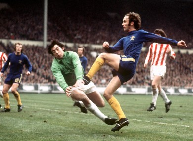 Chelsea's John Dempsey tries to squeeze a shot past Stoke goalkeeper Gordon Banks in 1972