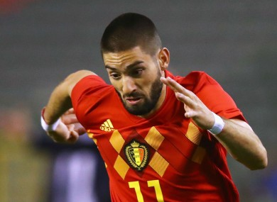 Yannick Carrasco in action for Belgium.