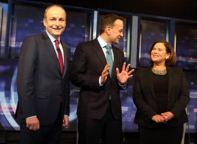 Micheál Martin, Leo Varadkar and Mary Lou McDonald ahead of the RTÉ Prime Time debate last week.