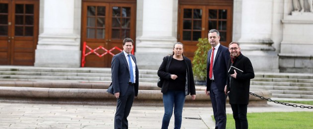 Sinn Féin negotiation team members Pearse Doherty, Eoin Ó Broin, Matt Carthy and Louise O'Reilly at Government Buildings.