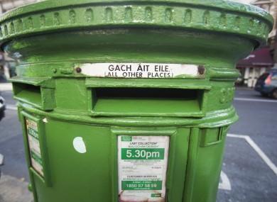 File photo of a post box in Dublin city centre.