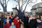 Independent TD Richard O Donoghue celebrates with supporters while arriving at Leinister House for the first day back as the Dail returns from the elections.