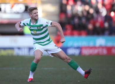 Celtic's Kristoffer Ajer celebrates scoring.
