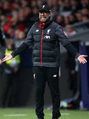 Liverpool manager Jurgen Klopp on the sideline.