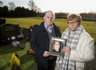 Stephen and Breege Quinn at the graveside of their murdered son Paul Quinn