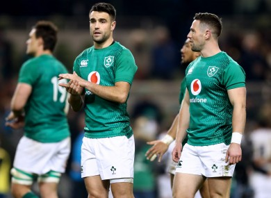 Conor Murray and John Cooney, a year ago today, applaud fans after Ireland's defeat to England in Dublin.