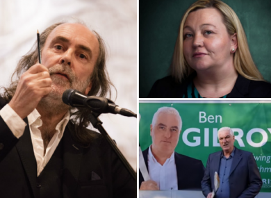 Clockwise from left: John Waters (Ind), Selina Irvine (The National Party) and Ben Gilroy (Irish Freedom Party)