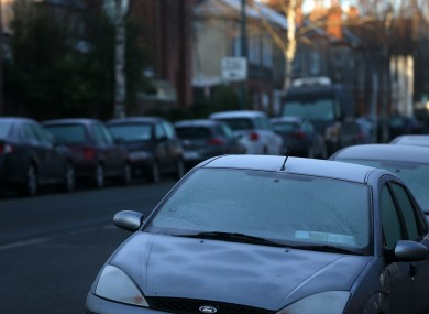 File photo. Frost-covered cars in Dublin.