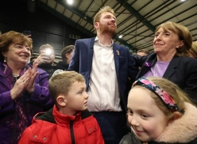 Newly elected Social Democrats TD Gary Gannon celebrates with his two party leaders.