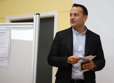 Varadkar voting in the election on Saturday 8 February.