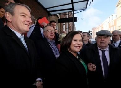 Sinn Féin Leader Mary Lou McDonald attended the rally in Cork.