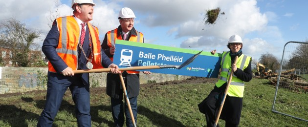 The first sod was turned on the new Pelletstown Irish Rail station today.