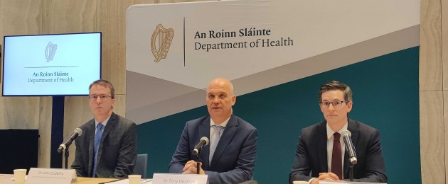 Dr John Cuddihy, Dr Tony Holohan and Dr Ronan Glynn at the Department of Health briefing this morning.